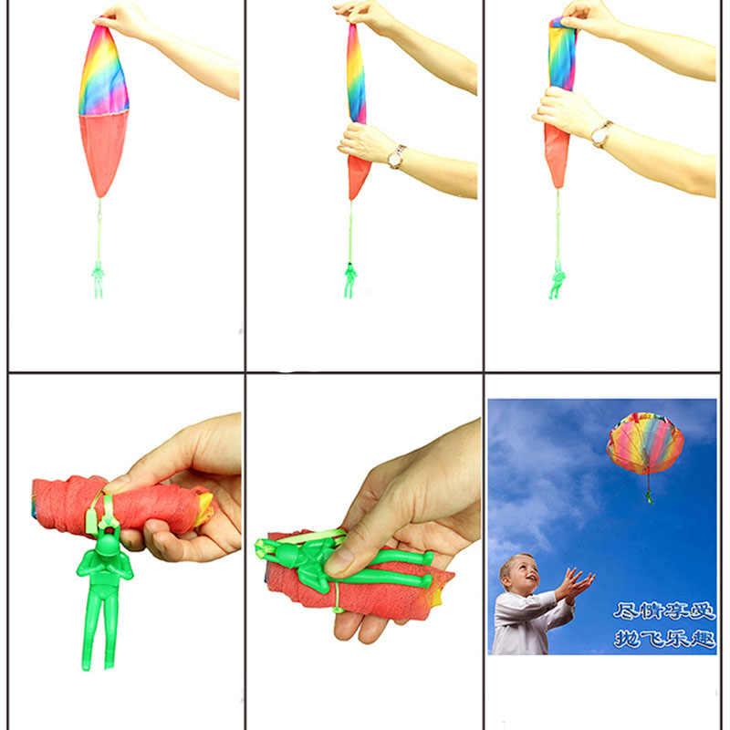 1 pçs crianças mão jogando paraquedas brinquedo para crianças de pára-quedas educacionais com figura soldado diversão ao ar livre esportes jogar jogo