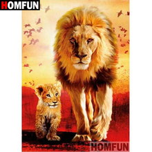 HOMFUN 5D DIY Diamond Painting Full Square/Round Drill Lion tiger 3D Embroidery Cross Stitch gift Home Decor A05066