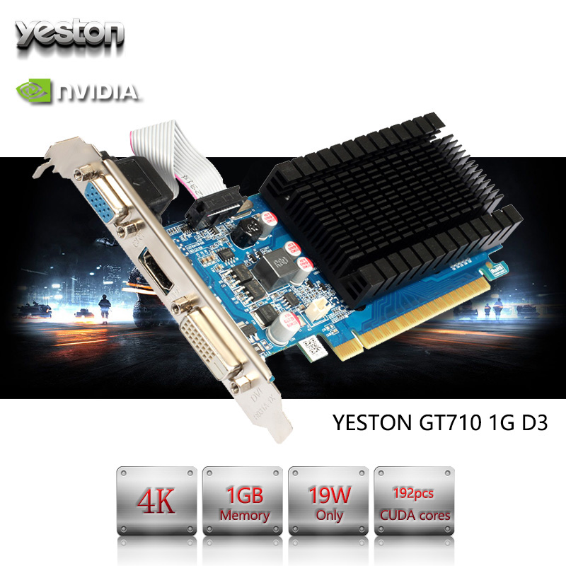 Yeston GeForce GT 710 GPU 1GB GDDR3 64 bit Gaming Desktop computer PC Video Graphics Cards support PCI-E X8 2.0 vg 86m06 006 gpu for acer aspire 6530g notebook pc graphics card ati hd3650 video card