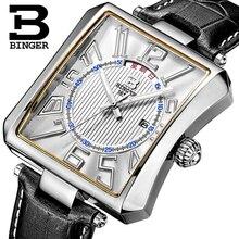 مقاوم للماء جلد طبيعي حزام المعصم الذكور سويسرا بينجر ساعة رجالي العلامة التجارية الفاخرة Tonneau كوارتز ساعة B3038 1