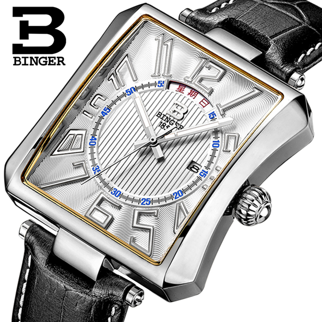Waterproof Genuine Leather Strap Male Wristwatches Switzerland BINGER Men's Watch Luxury Brand Tonneau Quartz Clock B3038-1