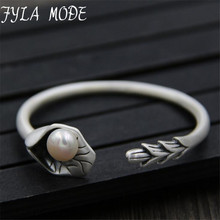 Fyla Mode Antique S999 Lotus Leaf With Shell Pearl Bangles Bracelets Women pulsera brazalete Cute Lotus Bud Vintage Jewelry