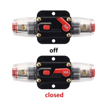 Car Auto Accessory DC 12V 30 Amp Audio Stereo Circuit Breaker Manual Reset Replace Fuse Holder For System Protection
