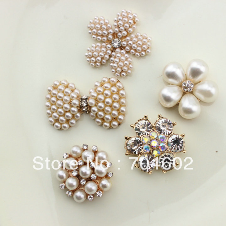 20pcs/lot Free Shipping 5 design DIY hair accessory Bow Flowers Pearl Buttons alloy rhinestone button bt05 ss16 3 8 4 0mm aquamarine color 10gross lot pointed back chaton rhinestone for jewelry accessory free shipping