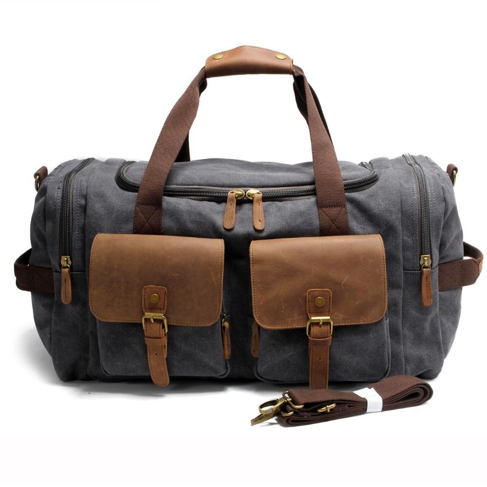 2017 Vintage Canvas Men Travel Bags Carry on Luggage bag Large Men Duffle  Bags shoulder Weekend f58144d8c3653