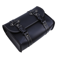 Black Universal Motorcycle Bag Saddle Side PU Leather Luggage Bag Storage Tool Pouch for Harley Cruiser Touring Saddlebag Bike