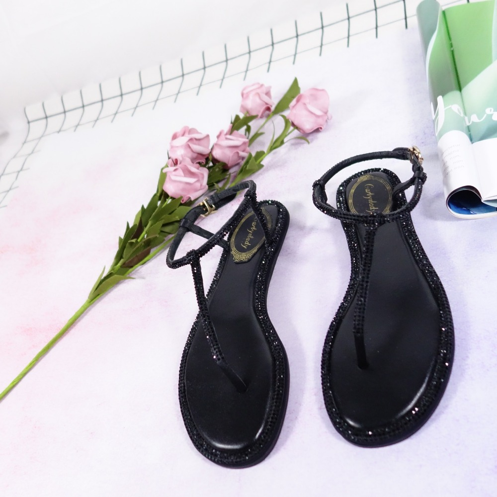 High Heels Shoes Woman Sandals Women Rhinestones Chains Flat Sandals Plus Size Thong Flat Sandals Gladiator Sandals Style1 Fragrant Aroma