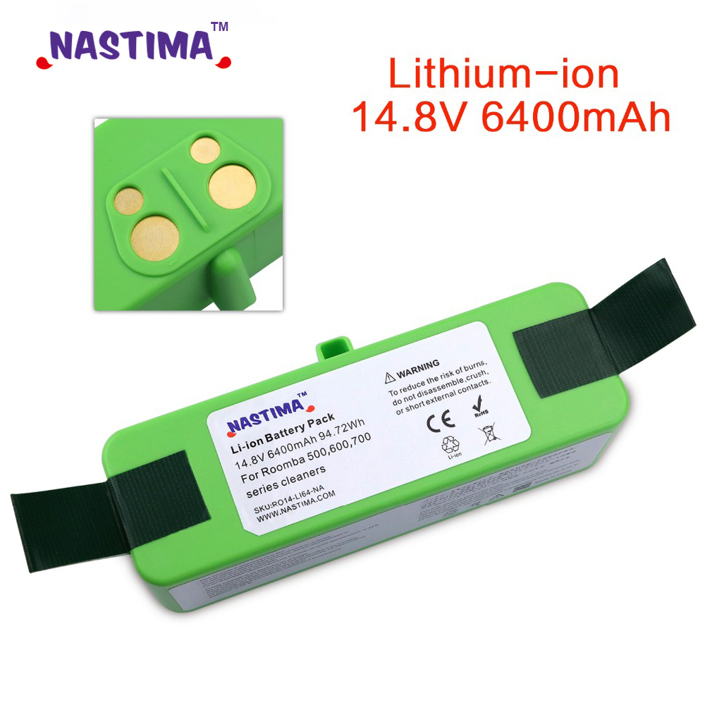 NASTIMA 14.8v 6400 /4400mAh Lithium Rechargeable Battery For IRobot Roomba 500 600 700 800 560 Series 620 650 700 770 780 880