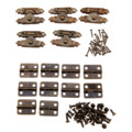 5Pcs Antique Bronze Jewelry Wooden Box Case Toggle Hasp Latch +10Pcs Cabinet Hinges  Iron Vintage Hardware Furniture Accessories