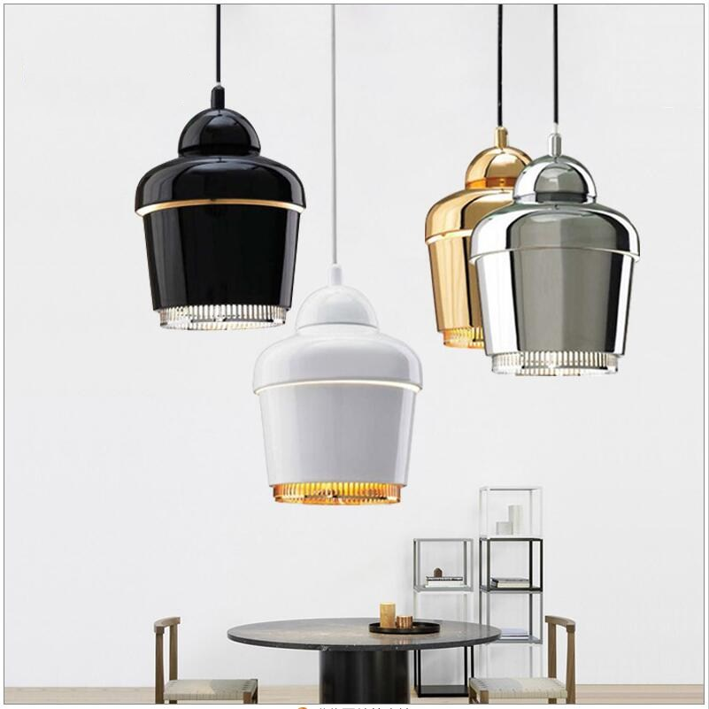 Modern Small plated metal chrome/gold/black/white pendant light lamps dining room living room loft cafe bar shop store lighting single head small bar of korean modern minimalist iron pendant lamps dining room pendant light the living room kitchen
