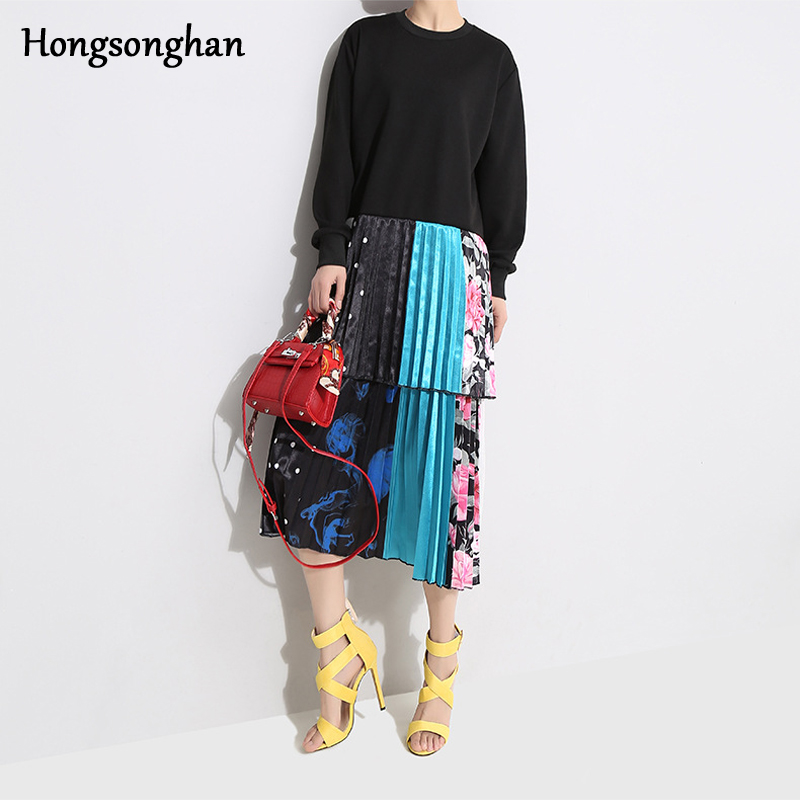 Hongsonghan 2019 South Korea east gate fashion style round collar vintage dress two layer pleated and spliced floral dress tide in Dresses from Women 39 s Clothing
