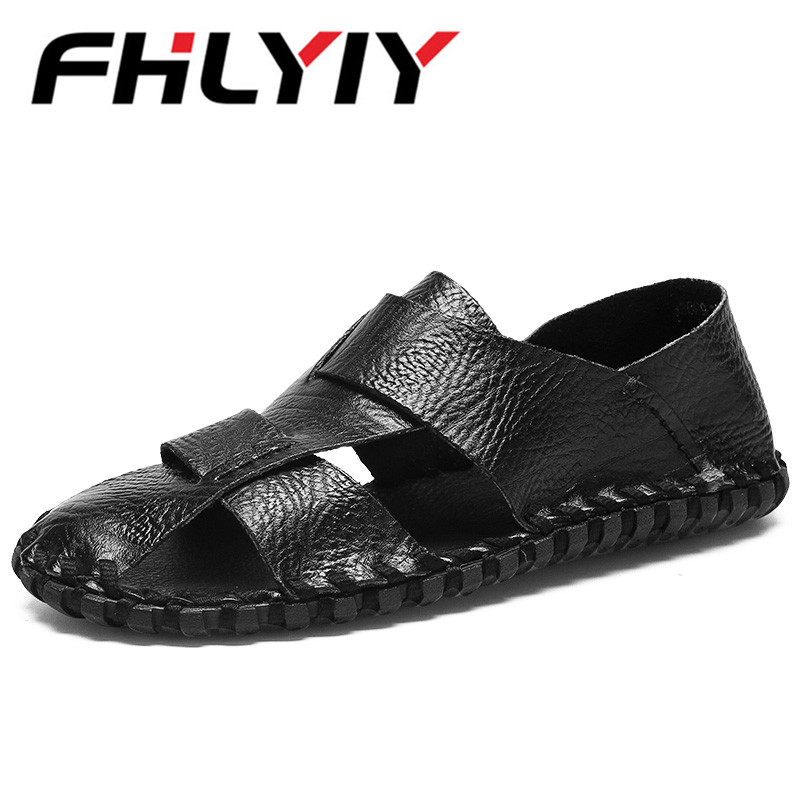 Men Genuine Leather Hand Woven Beach Sandals Male Lightweight Breathable Shoes Comfort Causal Men Summer Loafer Zapatos Hombre