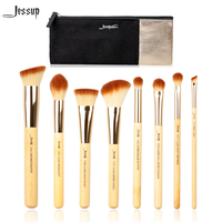 Jessup Brand 8pcs Beauty Bamboo Professional Makeup Brushes Set T139 Cosmetics Bags Women Bag CB001