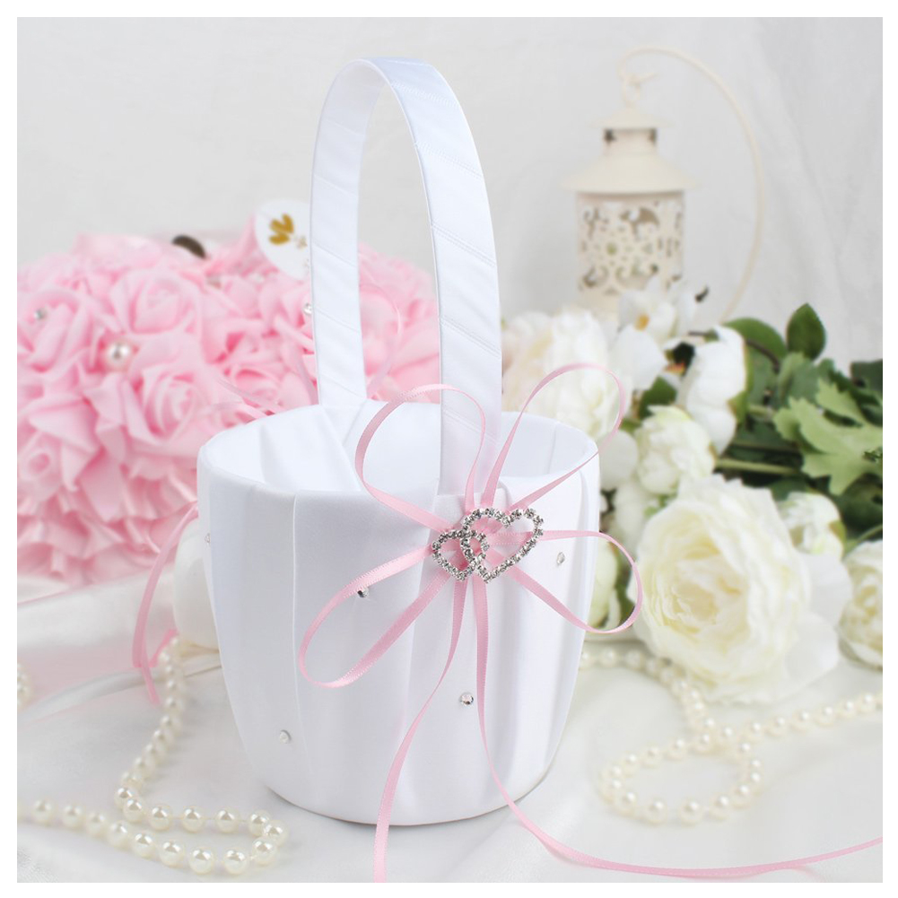 HOT GCZW Double Heart Wedding Flower Girl Basket White Satin ...