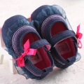 Lace Baby Shoes First Walker Denim Baby Dress Shoes Floral Infant Toddler Moccasins First Step Walking Shoes Rubber Bottom