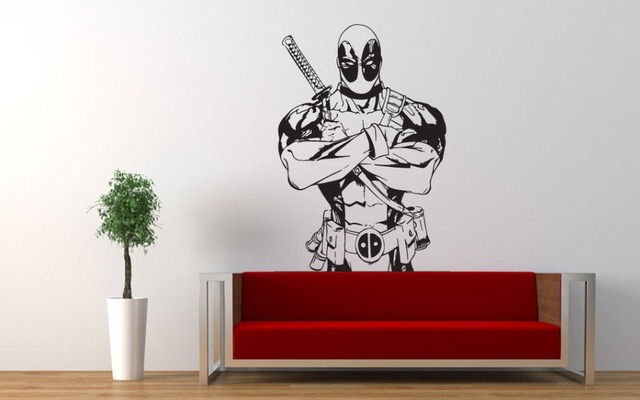 Deadpool Vinyl Art Design Wall Mural Stickers Superhero Marvel Pattern Wall  Decals Home Bedroom Art Decor