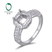 Caimao 14K White gold Natural 0.73ct Diamond Engagement Ring Jewelry Semi Mount 7mm Round Cut Setting