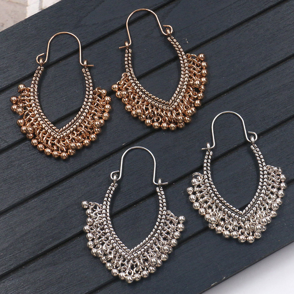 Women Vintage Ethnic Golden Silver V type Rice Beads Hoop Earrings For Female Party Wedding Jewelry in Hoop Earrings from Jewelry Accessories