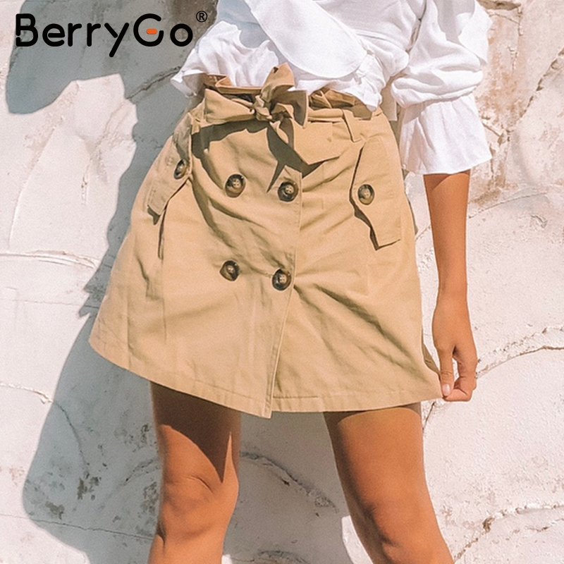 BerryGo 2018 OL casual button pocket women skirts Summer streetwear khaki short skirts female High waist sashes ladies skirts