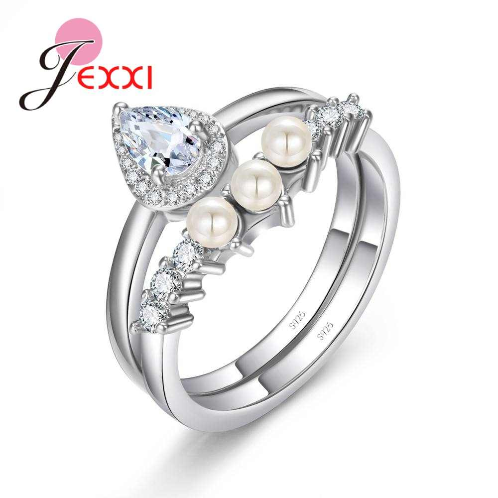 Elegant Women Bridal Genuine 925 Sterling Silver  Pearls With Clear CZ Stones Ring Sets Engagement Party Anel Accessories