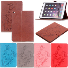 Tablet iPad6 A1566 A1567 Funda For iPad Air 2 Fashion Butterfly Emboss Leather Flip Wallet Case Cover 9.7 inch Coque Shell Stand luxury fashion pu leather flip wallet cover for apple ipad air 2 ipad6 case tablet for ipad air 1 ipad5 9 7 inch cute owi lovely