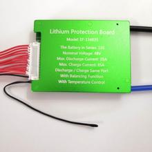 3.6V 3.7V 13S 48V E-bike Li ion battery 18650 BMS 35A battery BMS Charging Voltage 54.6V With balance