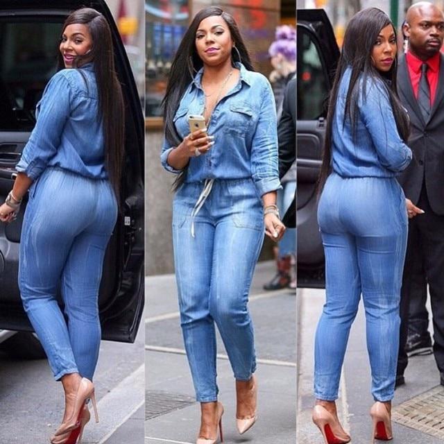 Rompers Women Jumpsuit 2016 Long Sleeve Full Pants Casual Bodysuit Sexy  Blue Jean Romper Plus Size Overalls Elegant Jumpsuits b88a235b9