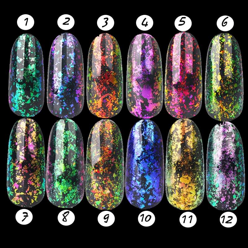 1 Set 12 Colore Chameleon Fiocchi Pigmento Paillettes Chiodo Polvere di Scintillio Abbagliante Trasparente Flake Polvere Nails Glitter Flake Glitter