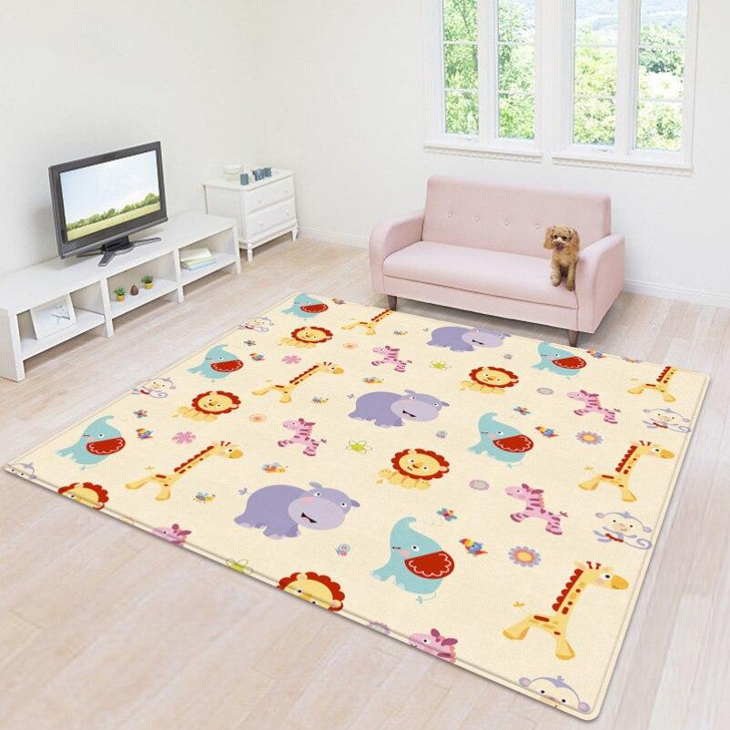 Tapis de jeu bébé 200x180x1 cm double surface tapis infantile bébé ramper épais jeu de Puzzle tapis mousse Eva tapis enfant jouet Pad