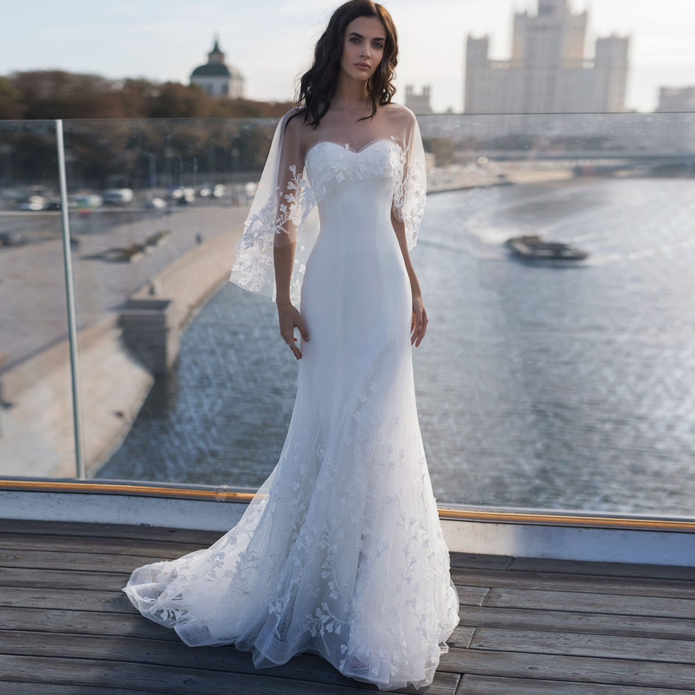 2019 New Mermaid Wedding Dresses With Wrap Robe De Mariee Elegant Appliqued Corset Lace Bridal Gown Customized
