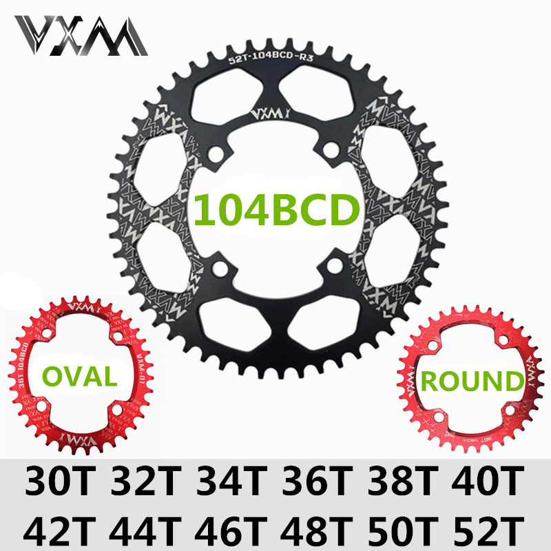 цена на VXM Bicycle 104BCD Crank Oval Round 30T 32T 34T 36T 38T 40T 42T 44T 46T 48T 50T 52T XT Chainwheel Narrow Wide MTB Bike Chainring