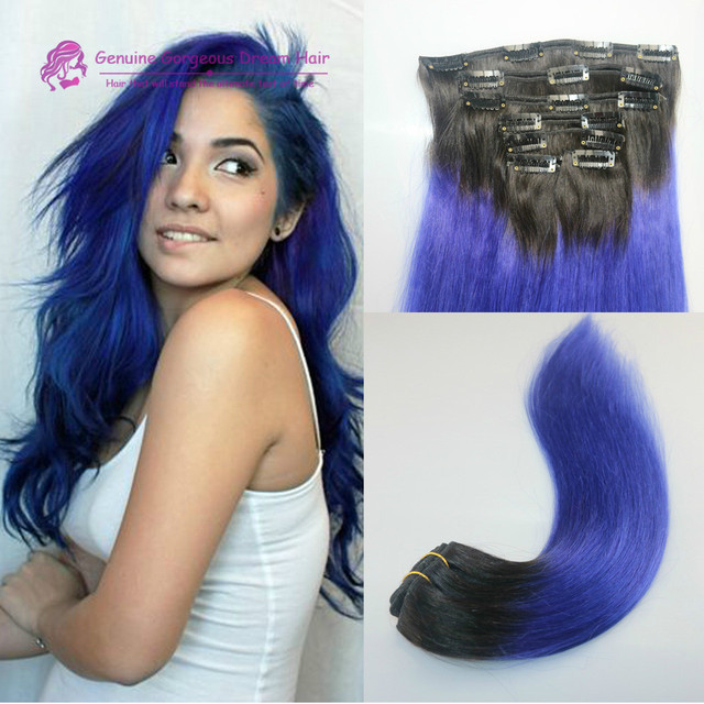 Best Price 120grams Brazilian Virgin Human Hair Ombre Blue Clip In