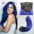 Melhor preço 120 Gramas Brasileiro virgem do cabelo humano ombre grampo em extensões de cabelo humano dois tons de cor azul frete grátis