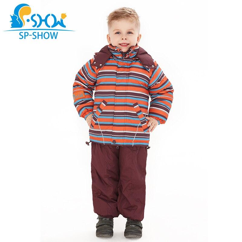 Acheter 1 costume obtenir 1 écharpe gratuite-30 degrés SP-SHOW hiver 90% blanc bas manteaux enfants vêtements garçons et filles veste de ski costume 009011