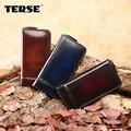 TERSE_Men larga cartera de cuero genuino hecha a mano Del Monedero de los hombres carteras de lujo logotipo personalizado 3 color de calidad superior precio al por mayor
