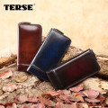 TERSE_Men long wallet genuine leather handmade Purse men luxury wallets custom logo 3 color top quality wholesale price