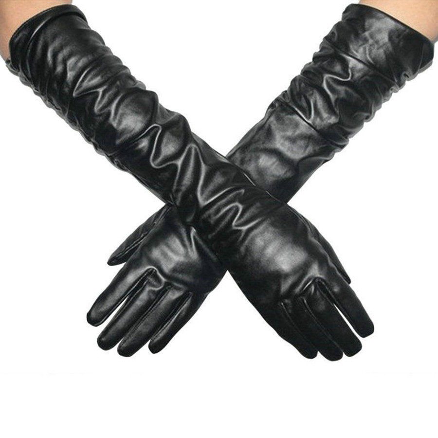 Long black leather gloves prices - Ladies Women Super Long Leather Glove Black Pu Leather Long Opera Pro Evening Gloves Mittens