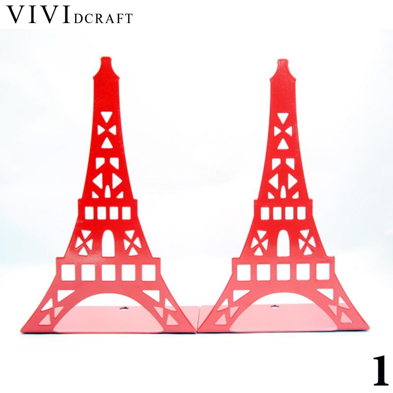 Vividcraft Creative 1 pair Eiffel Tower Bookends Book Stand Paint Iron Student School Office Holder Stand for Books Organizer pneumatic impact wrench 1 2 pneumatic gun air pressure wrench tool torque 650ft lb set with sleeve