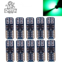 10Pcs T10 LED W5W 194 3030 8-SMD led flood lighting CANBUS 4W Yellow Light  Indicator Lamps Green 12V-24V (2 PCS)
