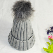 Fashion Women Faux Fur Ball Cap Pom Poms Winter Beanie Hat Knitted Warm Caps JL
