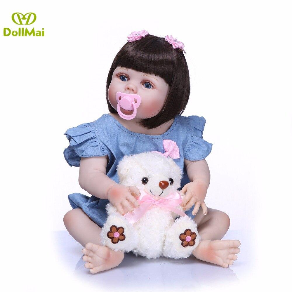 DollMai 23 pouces réaliste reborn poupées bébés plein silicone reborn bébé réel vivant jouets pour filles bebe cadeau reborn bonecas jouet