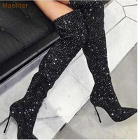 Chic Crystal Women Long Boots Pointed Toe Metal Thin High Heel Shoes Over the knee Zipper Sexy Graceful Footwear Black Boots