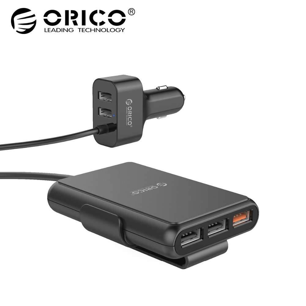 ORICO UCP-5P 52W USB Car Charger Smart Charging QC3.0 Quick Car Charger for Xiaomi Huawei Sanmsung Tablet
