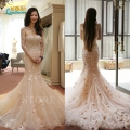 2016 High Quality Fashion Top Slim vintage Lace handmade Flower Mermaid Wedding Dress applique Bridal vestido de noiva plus size