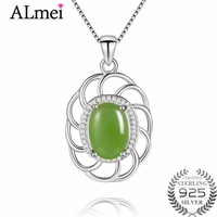 Almei 5ct Jasper Gemstone Pendant Necklace Silver 925 Sterling Light Green Zircon Costum Jewelry for Women with Box 40% FN075