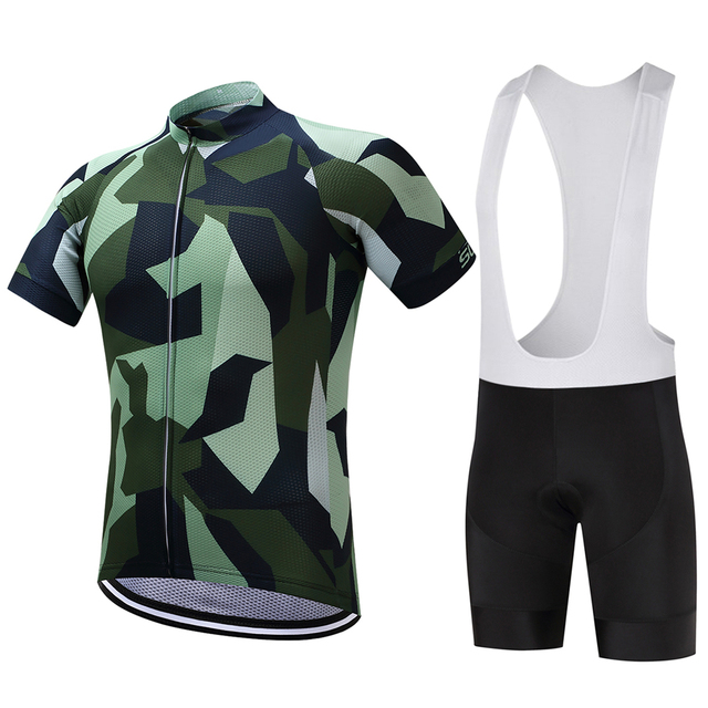 Army Green Camouflage Cycling Jersey And Bib Shorts Kit Outdoor Sports  Clothing 01d030bfe