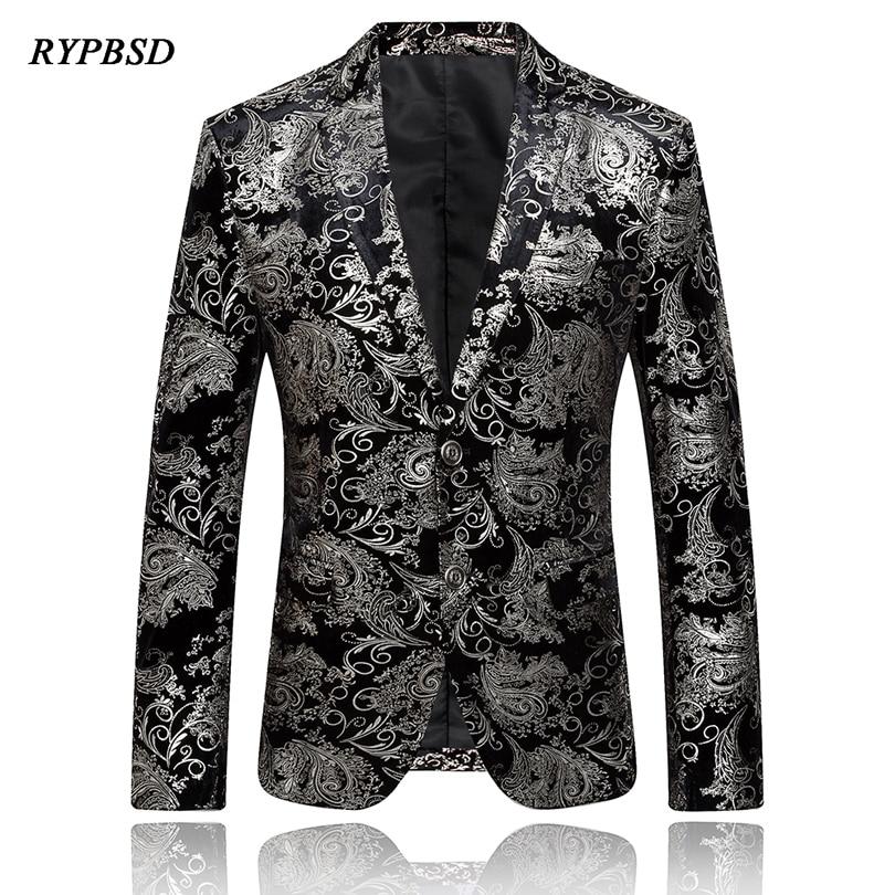 Gold Blazer Men Floral Casual Slim Business Blazers Men 2019 New Arrival Fashion Single Breasted Men Suit Jacket Plus Size M-4XL