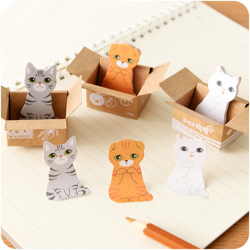 3D Cartoon Kawaii Scrapbooking Cat Dog Box Sticky Notes Cute Korean Stationery  Office School Supplies N Times Post It Memo Pad
