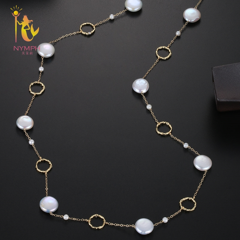 [NYMPH] Fine Jewelry Long Pearl Necklace Natural Baroque Pearl Sweater Chain For Women Anniversary Gift X345 exquisite faux pearl embellished multi layered alloy sweater chain necklace for women