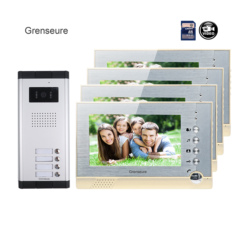 FREE SHIPPING Brand New 7 Color Recording Video Door Phone Intercom + 4 Monitors + 1 Outdoor Door Camera for 3 Family Wholesale